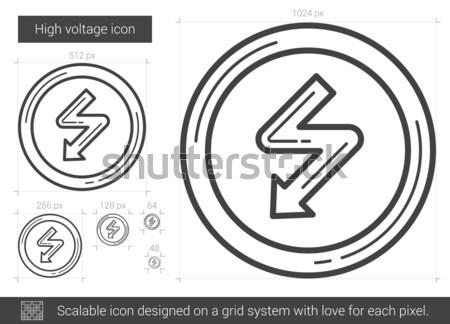 высокое напряжение линия икона вектора изолированный белый Сток-фото © RAStudio