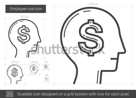 Empregado custo linha ícone vetor isolado Foto stock © RAStudio