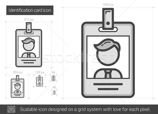 Stock fotó: Azonosítás · kártya · vonal · ikon · vektor · izolált