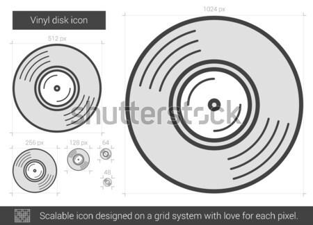 Vinilo disco línea icono vector aislado Foto stock © RAStudio