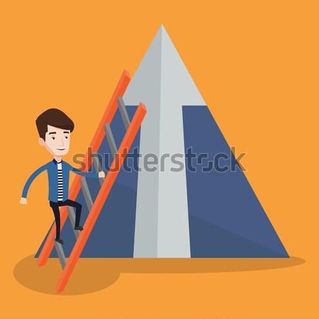 商业照片 / 矢量图: 商人 · 攀登 · 山 · 非洲的 · 阶梯 · 箭头