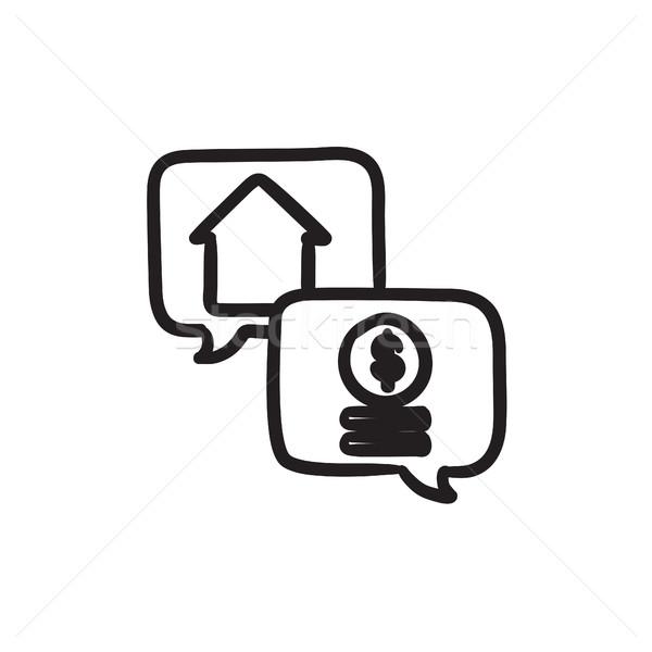 Immobilien Transaktion Skizze Symbol Vektor isoliert Stock foto © RAStudio