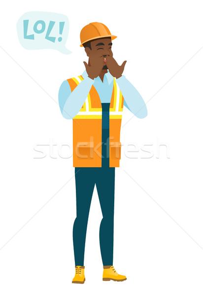 молодые строителя смеясь из громко речи пузырь Сток-фото © RAStudio