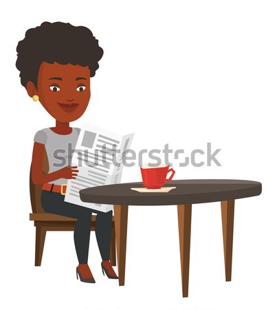 Stock photo: Woman reading newspaper and drinking coffee.