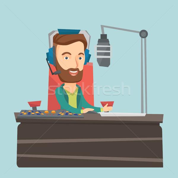 çalışma radyo kafkas erkek kulaklık istasyon Stok fotoğraf © RAStudio