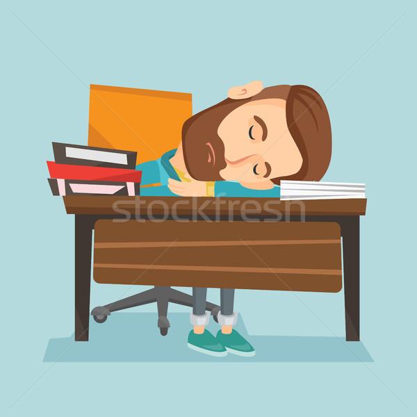 Diák alszik asztal könyv könyvek fáradt Stock fotó © RAStudio