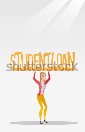 Nő tart felirat diák kölcsön kaukázusi Stock fotó © RAStudio