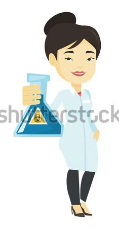 Tudós kémcső ázsiai tart hajtás laboratórium Stock fotó © RAStudio