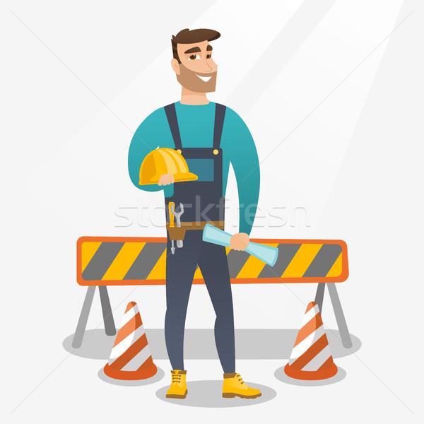 Védősisak terv kaukázusi építkezés tart építkezés Stock fotó © RAStudio