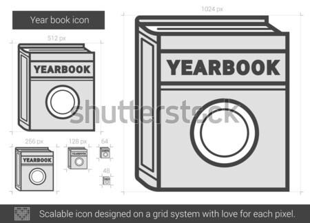 Jaar boek lijn icon vector geïsoleerd Stockfoto © RAStudio