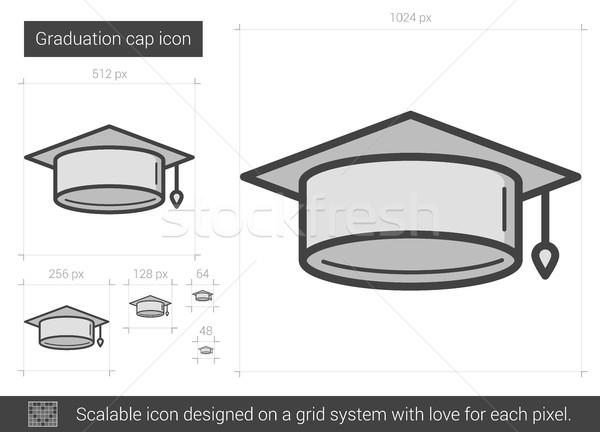 Graduação boné linha ícone vetor isolado Foto stock © RAStudio