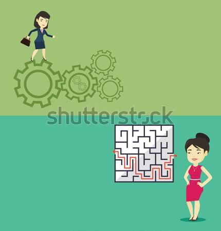 Dois negócio banners espaço texto vetor Foto stock © RAStudio