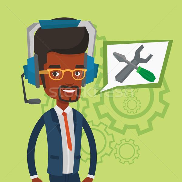 Technische ondersteuning exploitant jonge vrolijk hoofdtelefoon Stockfoto © RAStudio
