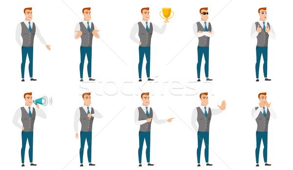 Foto stock: Vetor · conjunto · ilustrações · pessoas · de · negócios · maravilhado · caucasiano