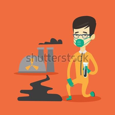 Uomo radiazione suit provetta scienziato piedi Foto d'archivio © RAStudio
