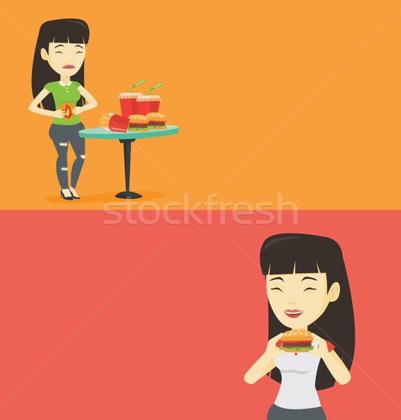 Dois comida beber banners espaço texto Foto stock © RAStudio
