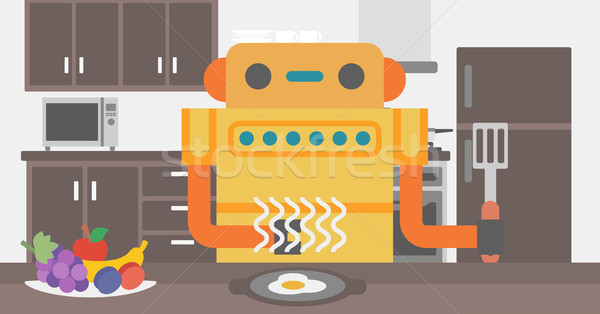 Robot housewife preparing breakfast at kitchen. Stock photo © RAStudio