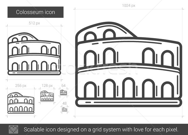 Colosseum hat ikon vektör yalıtılmış beyaz Stok fotoğraf © RAStudio