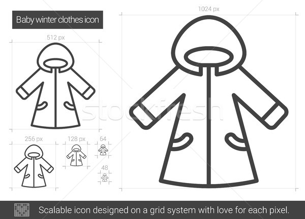 Bebé invierno ropa línea icono vector Foto stock © RAStudio