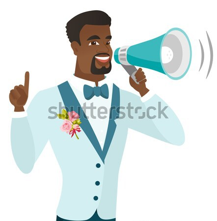 African-american groom talking into loudspeaker. Stock photo © RAStudio