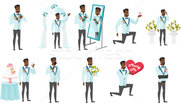Stock photo: African-american groom vector illustrations set.