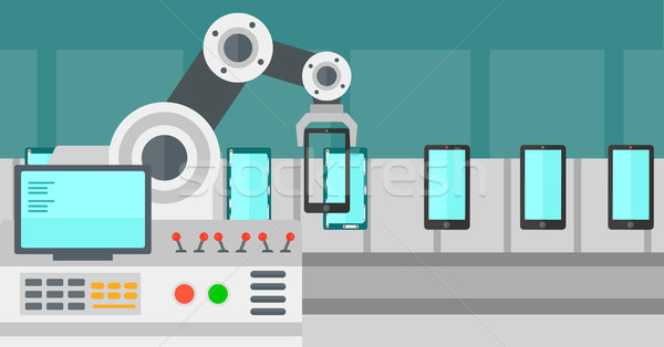 Automated robotic production line of smartphones. Stock photo © RAStudio