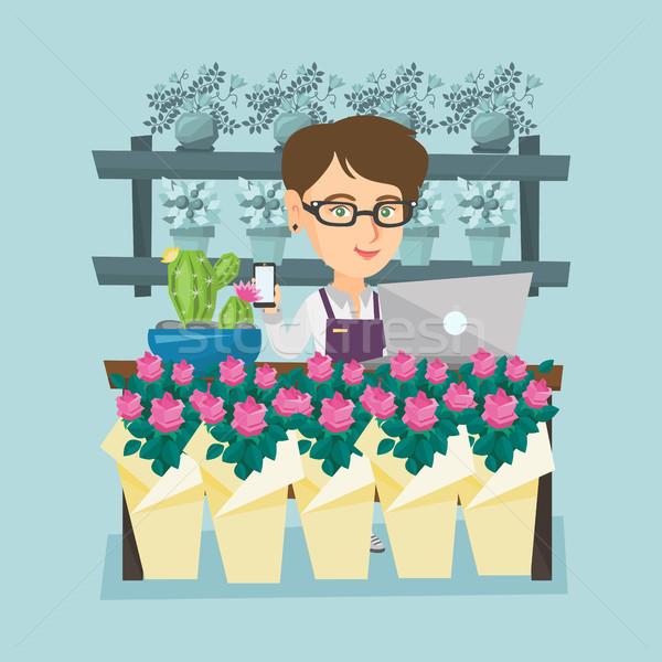 Photo stock: Fleuriste · permanent · derrière · contre · jeunes