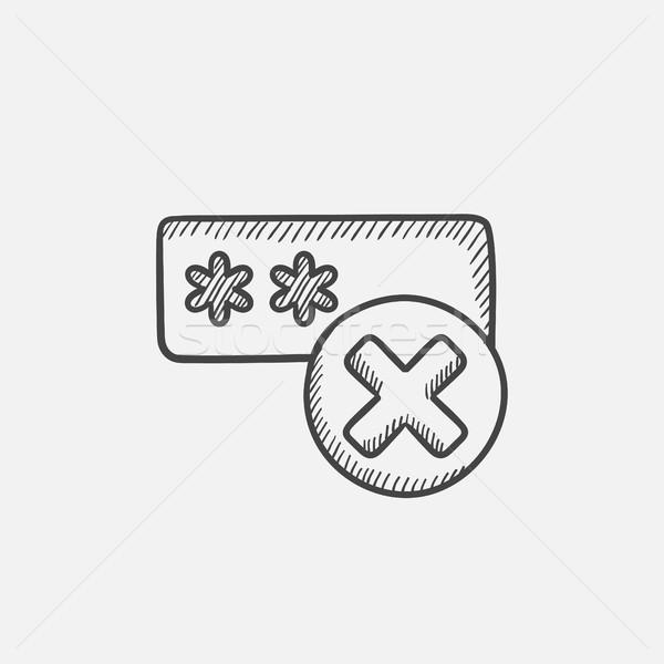 Falsch Kennwort Skizze Symbol Web mobile Stock foto © RAStudio