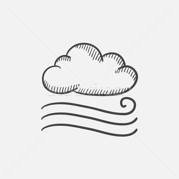 Winderig wolk schets icon web Stockfoto © RAStudio