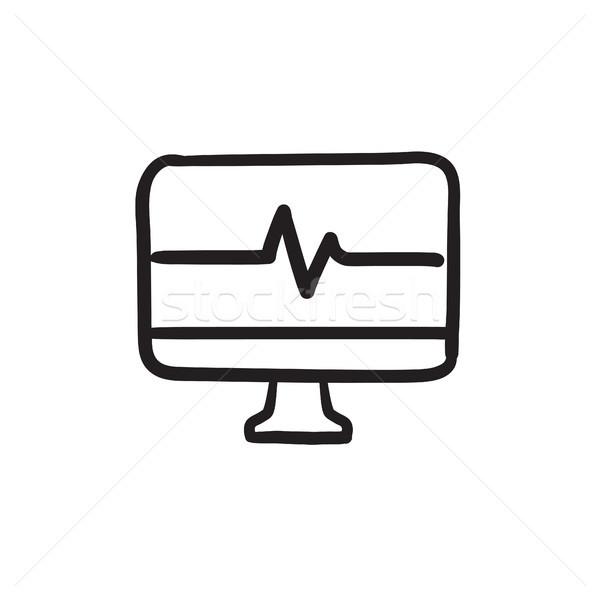 Szívverés monitor rajz ikon vektor izolált Stock fotó © RAStudio