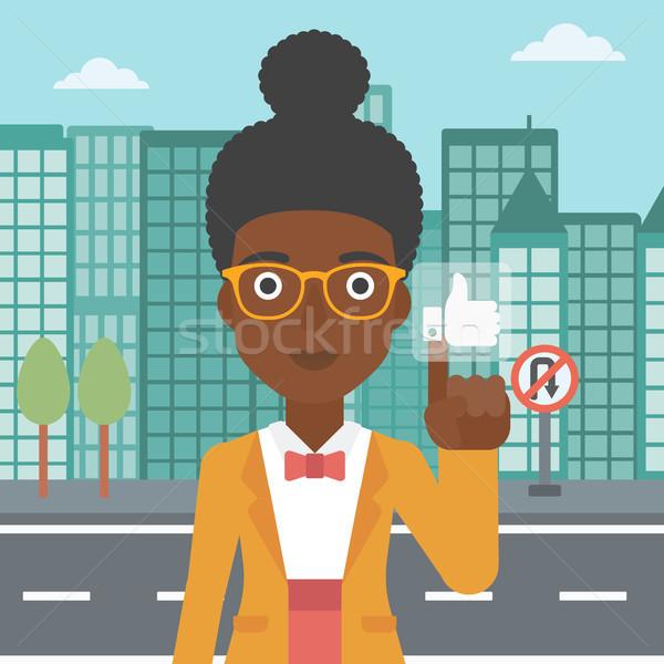 Frau wie Taste Wohnung Vektor Stock foto © RAStudio