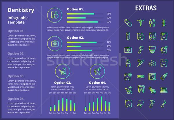 Odontologia modelo elementos ícones customizáveis Foto stock © RAStudio