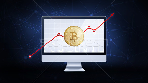 Gold bitcoin coin with bull stock chart. Stock photo © RAStudio