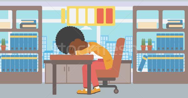 Nő alszik munkahely laptop billentyűzet alacsony erő Stock fotó © RAStudio