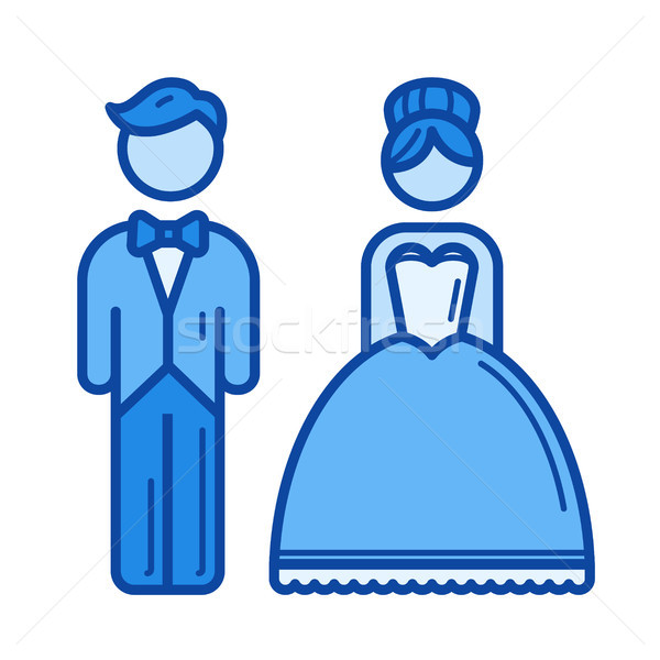 Házaspár vonal ikon vektor izolált fehér Stock fotó © RAStudio