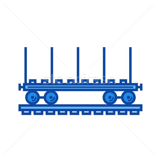 Spoorweg auto lijn icon vector geïsoleerd Stockfoto © RAStudio