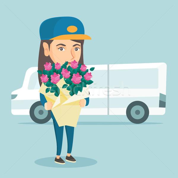 доставки курьер букет цветы молодые Сток-фото © RAStudio