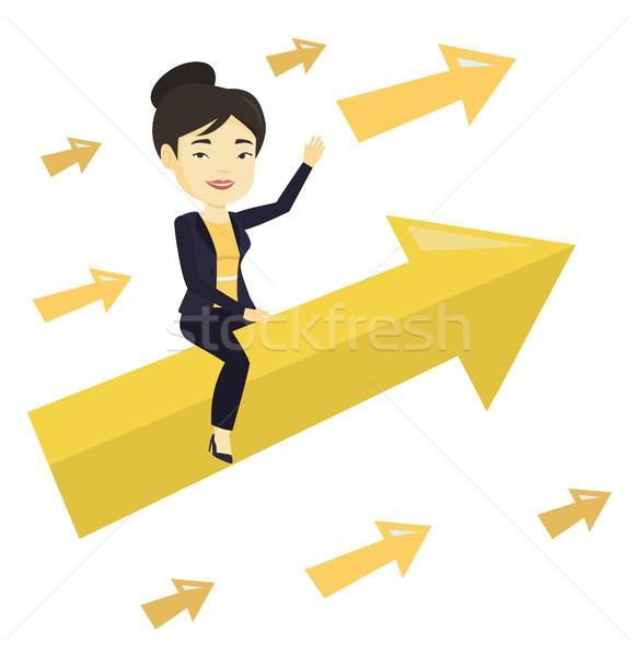 Happy business woman flying to success. Stock photo © RAStudio