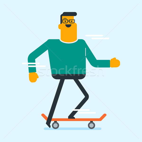 Caucasian white man riding a skateboard. Stock photo © RAStudio
