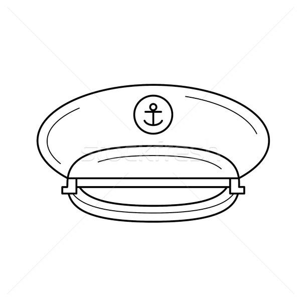 Hoed lijn icon vector geïsoleerd witte Stockfoto © RAStudio