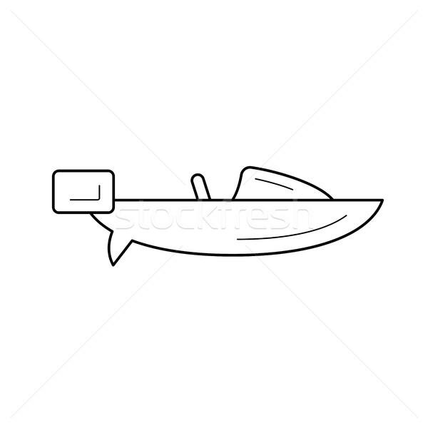 Velocidad barco línea icono vector aislado Foto stock © RAStudio