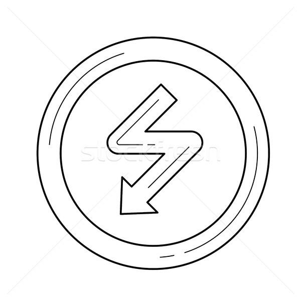 высокое напряжение вектора линия икона изолированный белый Сток-фото © RAStudio