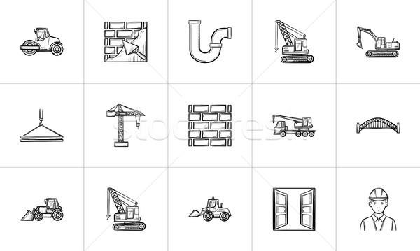 építkezés kézzel rajzolt rajz ikon gyűjtemény háló mobil Stock fotó © RAStudio
