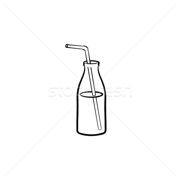 Glass bottle of milkshake with straw line icon. Stock photo © RAStudio