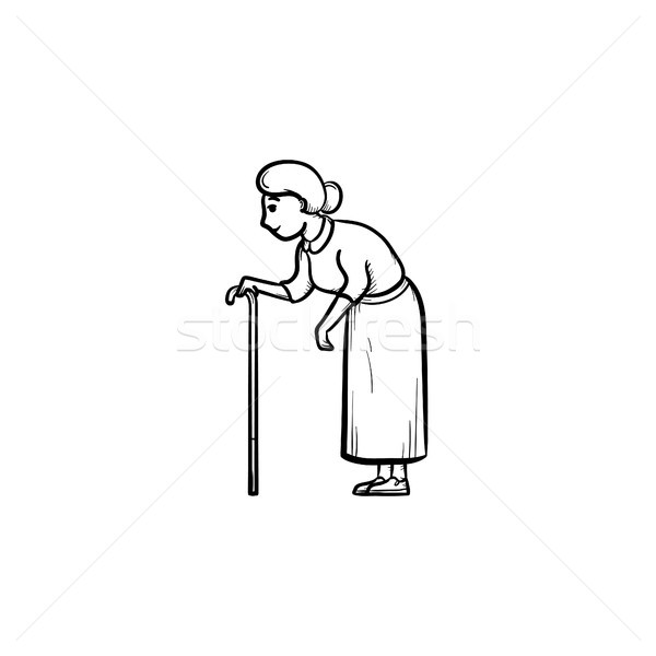 An old woman with cane hand drawn outline doodle icon. Stock photo © RAStudio