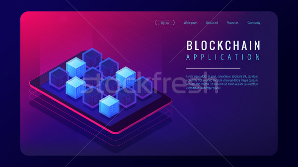Isometric blockchain application landing page concept. Stock photo © RAStudio