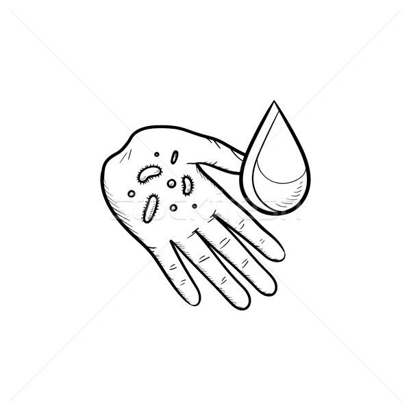 Washing arm hand drawn outline doodle icon. Stock photo © RAStudio