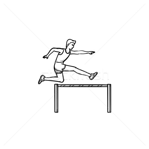Sportsman jumping over obstacles hand drawn outline doodle icon. Stock photo © RAStudio