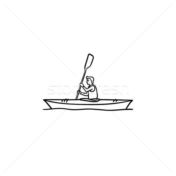человека каноэ рисованной болван икона Сток-фото © RAStudio
