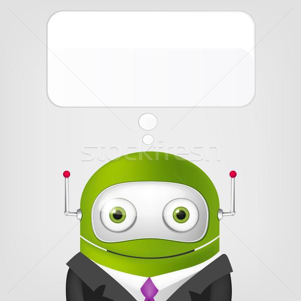 Foto stock: Cute · robot · gris · gradiente · empresarios